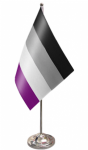 Asexual Pride Desk / Table Flag with chrome stand and base